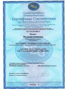 СЕРТИФИКАТ OHSAS 18001 ОБРАЗЕЦ2